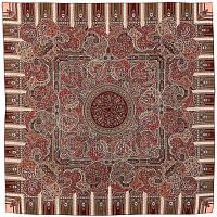 День рождения 789-2, павлопосадский платок шерстяной  с оверлоком   Первый сорт