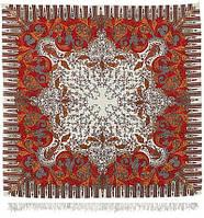 Зима 586-0, павлопосадский платок шерстяной  с оверлоком, фото 1