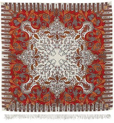 Зима 586-0, павлопосадский платок шерстяной  с оверлоком