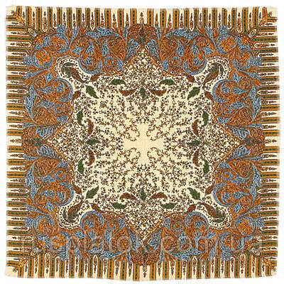 Зима 586-5, павлопосадский платок шерстяной  с оверлоком