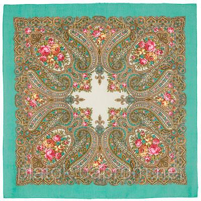 Золушка 1298-11, павлопосадский платок шерстяной  с оверлоком