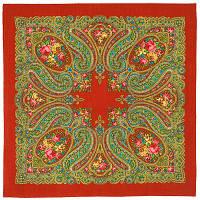 Золушка 1298-3, павлопосадский платок шерстяной  с оверлоком   Стандартный сорт