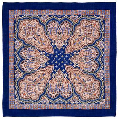 Искорка 1077-13, павлопосадский платок шерстяной  с оверлоком
