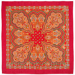 Искорка 1077-3, павлопосадский платок шерстяной  с оверлоком