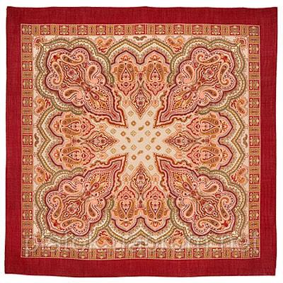Искорка 1077-5, павлопосадский платок шерстяной  с оверлоком