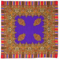 Терем 1377-13, павлопосадский платок шерстяной  с оверлоком