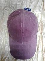 Розовая бейсболка из мелкого вельвета (57-59)