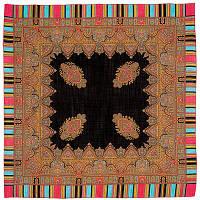 Терем 1377-18, павлопосадский платок шерстяной  с оверлоком