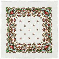 Загадка 618-1, павлопосадский платок шерстяной  с осыпкой (оверлоком)