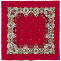 Загадка 618-5, павлопосадский платок шерстяной  с осыпкой (оверлоком)