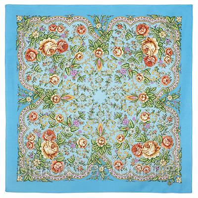 Светлая Надежда 1658-11, павлопосадский платок шерстяной  с осыпкой (оверлоком)