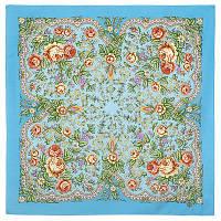Светлая Надежда 1658-11, павлопосадский платок шерстяной  с осыпкой (оверлоком), фото 1