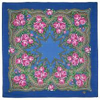 Цветочная корзиночка 1598-13, павлопосадский платок шерстяной  с осыпкой (оверлоком)