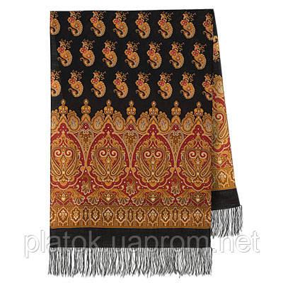 Вальс-бостон 1095-18, павлопосадский шарф-палантин шерстяной с шелковой бахромой