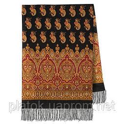 Вальс-бостон 1095-18, павлопосадский шарф-палантин вовняної з шовковою бахромою
