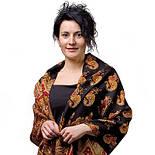 Вальс-бостон 1095-18, павлопосадский шарф-палантин шерстяной с шелковой бахромой, фото 2