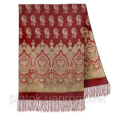 Вальс-бостон 1095-7, павлопосадский шарф-палантин шерстяной с шелковой бахромой