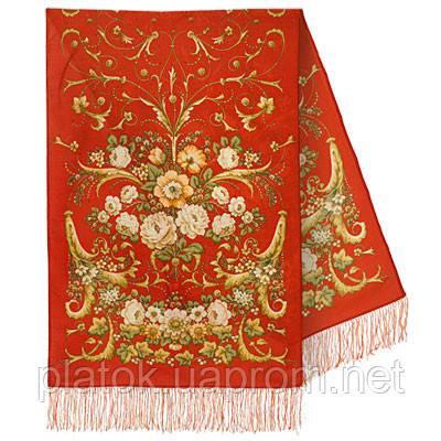 Дива 1474-55, павлопосадский шарф-палантин шерстяной с шелковой бахромой   Стандартный сорт