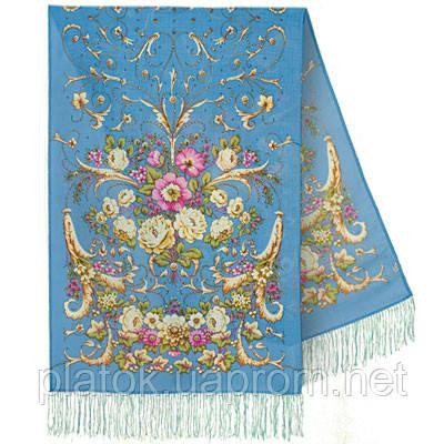 Дива 1474-63, павлопосадский шарф-палантин шерстяной с шелковой бахромой