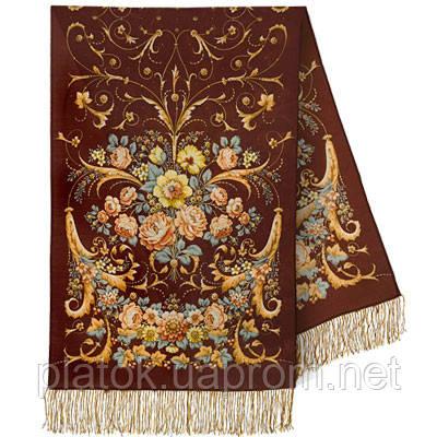 Дива 1474-67, павлопосадский шарф-палантин шерстяной с шелковой бахромой