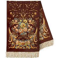 Дива 1474-67, павлопосадский шарф-палантин шерстяной с шелковой бахромой, фото 1