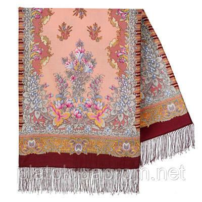 Дивное лето 1497-7, павлопосадский шарф шерстяной  с шелковой бахромой