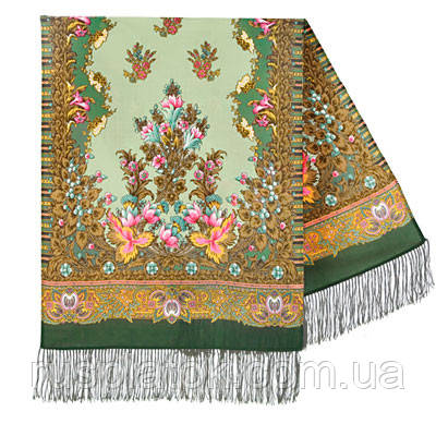 Дивное лето 1497-9, павлопосадский шарф шерстяной  с шелковой бахромой