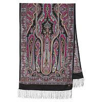 Город золотой 1643-18, павлопосадский шарф-палантин шерстяной с шелковой бахромой