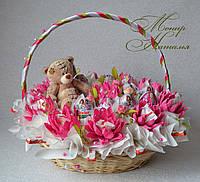 Букет из Киндер шоколада и яиц для девушки