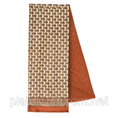 Босс 1297-16, павлопосадский шарф (кашне) шерсть -шелк (атлас) двусторонний мужской с осыпкой