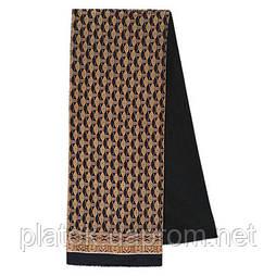 Босс 1297-18, павлопосадский шарф (кашне) шерсть -шелк (атлас) двусторонний мужской с осыпкой