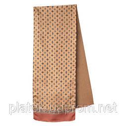 Герцог 936-6, павлопосадский шарф (кашне) шерсть -шелк (атлас) двусторонний мужской с осыпкой