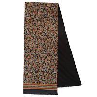 Граф 1418-18, павлопосадский шарф (кашне) шерсть -шелк (атлас) двусторонний мужской с осыпкой