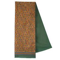 Граф 1418-9, павлопосадский шарф (кашне) шерсть -шелк (атлас) двусторонний мужской с осыпкой