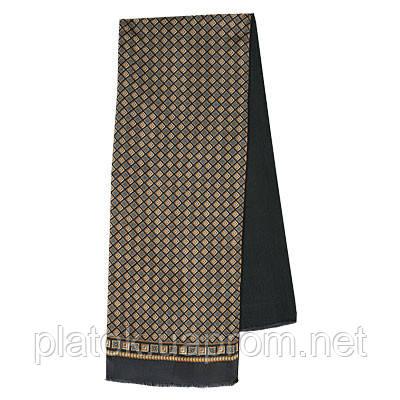 Каскад 938-18, павлопосадский шарф (кашне) шерсть -шелк (атлас) двусторонний мужской с осыпкой   Стандартный сорт