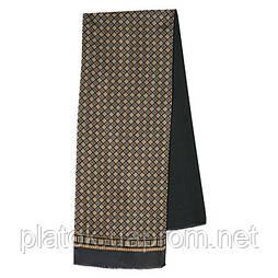 Каскад 938-18, павлопосадский шарф (кашне) шерсть -шелк (атлас) двусторонний мужской с осыпкой
