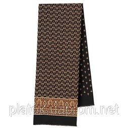 Визит 588-18, павлопосадский шарф (кашне) шерстяной  двусторонний мужской с осыпкой