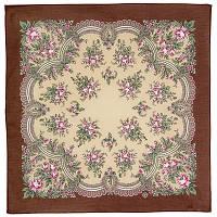 Весенняя нежность 1501-4, павлопосадский платок (на голову, шейный) хлопковый (батистовый) с подрубкой, фото 1