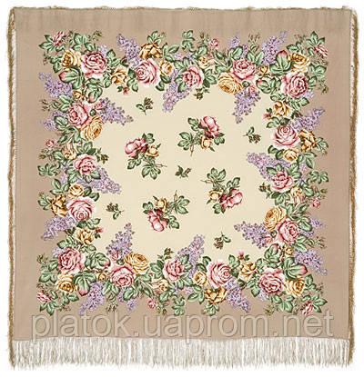 Аромат любви 1378-1, павлопосадский платок (шаль, крепдешин) шелковый с шелковой бахромой