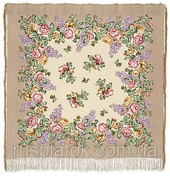Аромат любові 1378-1, павлопосадский хустку (шаль, крепдешин) шовковий з шовковою бахромою