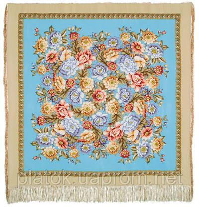 Берег грез 1389-1, павлопосадский платок (шаль, крепдешин) шелковый с шелковой бахромой