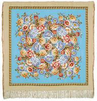 Берег грез 1389-1, павлопосадский платок (шаль, крепдешин) шелковый с шелковой бахромой, фото 1