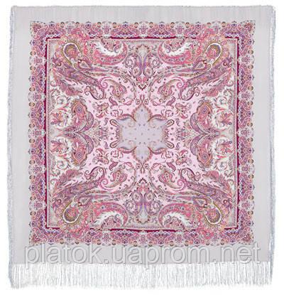 Восточные сладости 1429-1, павлопосадский платок (шаль, крепдешин) шелковый с шелковой бахромой