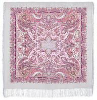 Восточные сладости 1429-1, павлопосадский платок (шаль, крепдешин) шелковый с шелковой бахромой, фото 1