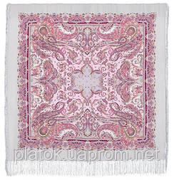 Східні солодощі 1429-1, павлопосадский хустку (шаль, крепдешин) шовковий з шовковою бахромою
