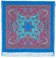 Восточные сладости 1429-13, павлопосадский платок (шаль, крепдешин) шелковый с шелковой бахромой
