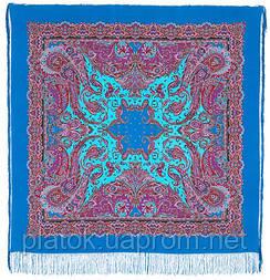 Східні солодощі 1429-13, павлопосадский хустку (шаль, крепдешин) шовковий з шовковою бахромою