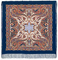 Восточные сладости 1429-14, павлопосадский платок (шаль, крепдешин) шелковый с шелковой бахромой