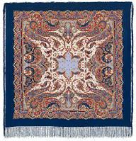 Восточные сладости 1429-14, павлопосадский платок (шаль, крепдешин) шелковый с шелковой бахромой   Стандартный сорт, фото 1