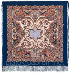 Східні солодощі 1429-14, павлопосадская шовкова шаль з шовковою бахромою